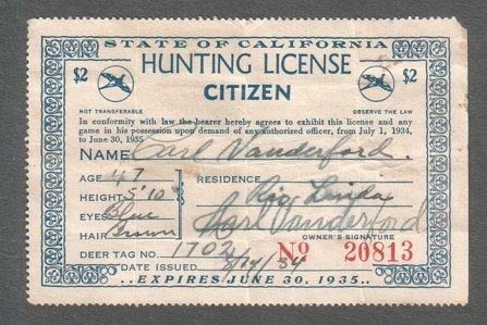California hunting license stamps for Calif fishing license