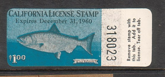 Old california fishing license stamps for Ct fishing license online