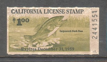 Old california fishing license stamps for Dicks fishing license